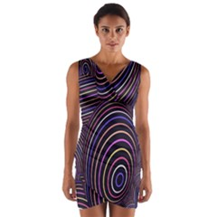 Abstract Colorful Spheres Wrap Front Bodycon Dress