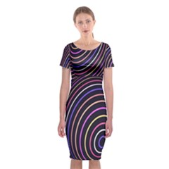 Abstract Colorful Spheres Classic Short Sleeve Midi Dress