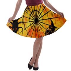 Halloween Weird  Surreal Atmosphere A Line Skater Skirt