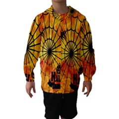 Halloween Weird  Surreal Atmosphere Hooded Wind Breaker (Kids)