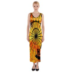 Halloween Weird  Surreal Atmosphere Fitted Maxi Dress