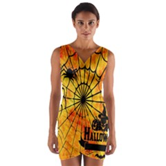 Halloween Weird  Surreal Atmosphere Wrap Front Bodycon Dress