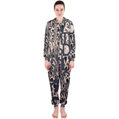 Wallpaper Texture Pattern Design Ornate Abstract Hooded Jumpsuit (Ladies)