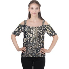 Wallpaper Texture Pattern Design Ornate Abstract Women s Cutout Shoulder Tee