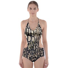 Wallpaper Texture Pattern Design Ornate Abstract Cut-Out One Piece Swimsuit