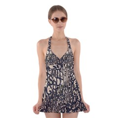 Wallpaper Texture Pattern Design Ornate Abstract Halter Swimsuit Dress