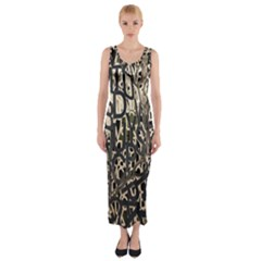 Wallpaper Texture Pattern Design Ornate Abstract Fitted Maxi Dress