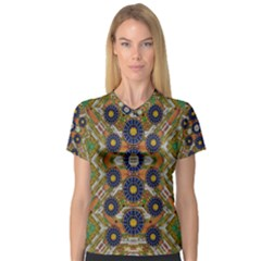 Fleur Flower Porcelaine In Calm Women s V-Neck Sport Mesh Tee