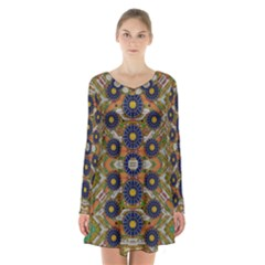 Fleur Flower Porcelaine In Calm Long Sleeve Velvet V-neck Dress