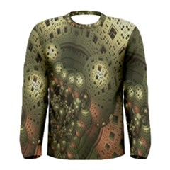 Geometric Fractal Cuboid Menger Sponge Geometry Men s Long Sleeve Tee