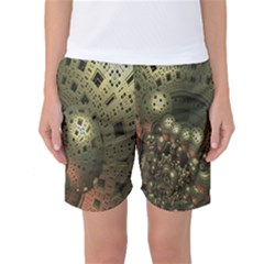 Geometric Fractal Cuboid Menger Sponge Geometry Women s Basketball Shorts