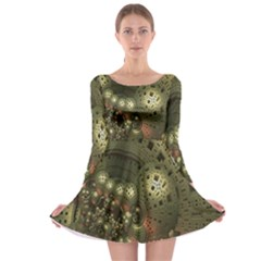 Geometric Fractal Cuboid Menger Sponge Geometry Long Sleeve Skater Dress