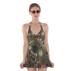 Geometric Fractal Cuboid Menger Sponge Geometry Halter Swimsuit Dress