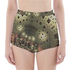 Geometric Fractal Cuboid Menger Sponge Geometry High-Waisted Bikini Bottoms