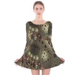 Geometric Fractal Cuboid Menger Sponge Geometry Long Sleeve Velvet Skater Dress