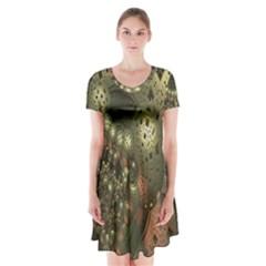 Geometric Fractal Cuboid Menger Sponge Geometry Short Sleeve V-neck Flare Dress
