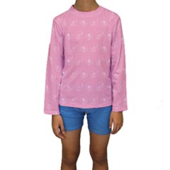 Pink pattern Kids  Long Sleeve Swimwear