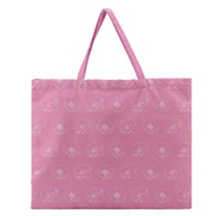 Pink pattern Zipper Large Tote Bag