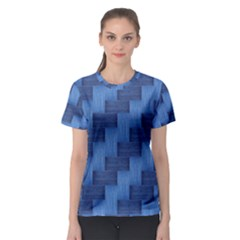 Blue pattern Women s Sport Mesh Tee