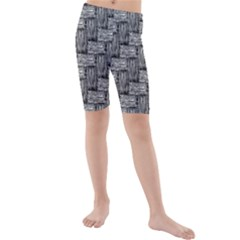 Gray pattern Kids  Mid Length Swim Shorts
