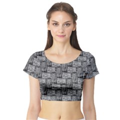 Gray pattern Short Sleeve Crop Top (Tight Fit)