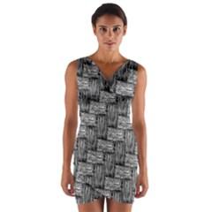 Gray pattern Wrap Front Bodycon Dress