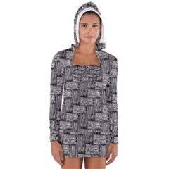 Gray pattern Women s Long Sleeve Hooded T-shirt