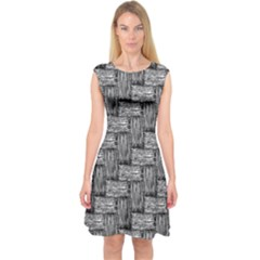 Gray pattern Capsleeve Midi Dress
