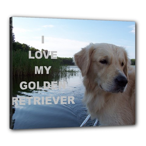 Golden Retriver Love W Pic Canvas 24  x 20