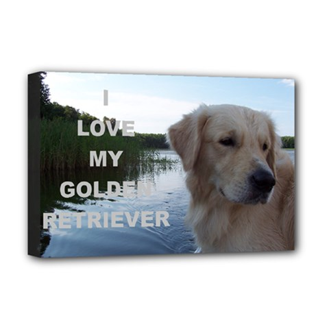Golden Retriver Love W Pic Deluxe Canvas 18  x 12
