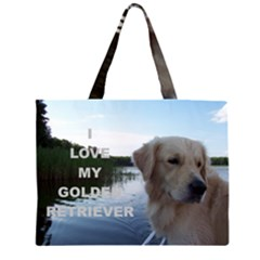 Golden Retriver Love W Pic Large Tote Bag
