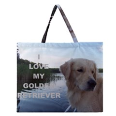 Golden Retriver Love W Pic Zipper Large Tote Bag