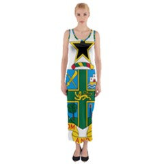 Coat of Arms of Ghana Fitted Maxi Dress
