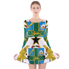 Coat of Arms of Ghana Long Sleeve Velvet Skater Dress
