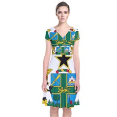 Coat of Arms of Ghana Short Sleeve Front Wrap Dress