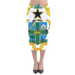 Coat of Arms of Ghana Velvet Midi Pencil Skirt