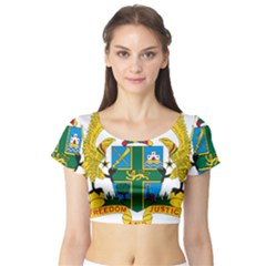 Coat of Arms of Ghana Short Sleeve Crop Top (Tight Fit)
