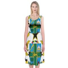 Coat of Arms of Ghana Midi Sleeveless Dress