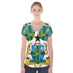 Coat of Arms of Ghana Short Sleeve Front Detail Top