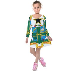 Coat of Arms of Ghana Kids  Long Sleeve Velvet Dress