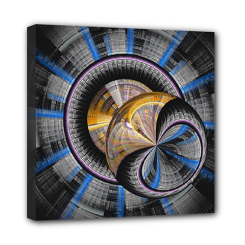 Fractal Tech Disc Background Mini Canvas 8  x 8