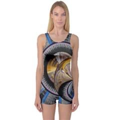 Fractal Tech Disc Background One Piece Boyleg Swimsuit