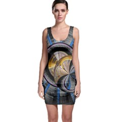Fractal Tech Disc Background Sleeveless Bodycon Dress