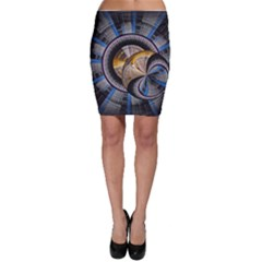 Fractal Tech Disc Background Bodycon Skirt