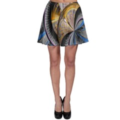 Fractal Tech Disc Background Skater Skirt