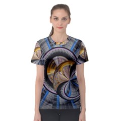 Fractal Tech Disc Background Women s Sport Mesh Tee