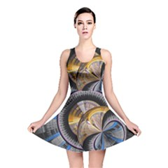 Fractal Tech Disc Background Reversible Skater Dress