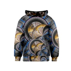 Fractal Tech Disc Background Kids  Pullover Hoodie
