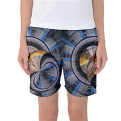 Fractal Tech Disc Background Women s Basketball Shorts