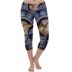 Fractal Tech Disc Background Capri Yoga Leggings